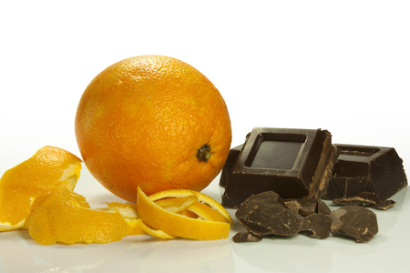 orange peel and chocolate bar pieces Stock Photo