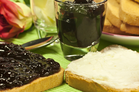 toasted bread spread with jam or butter