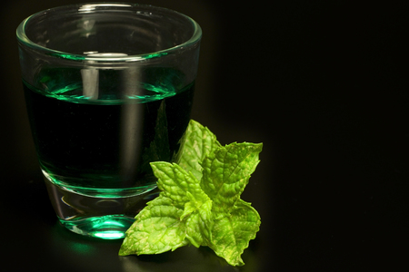 muggy: tuft of green leaves of fresh mint with ice