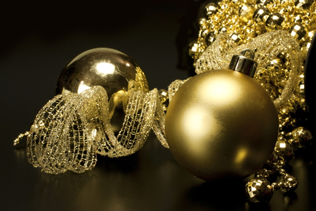 various Christmas decorations placed on a black background Stock Photo