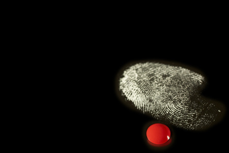 suspected: fingerprint white with a red drop