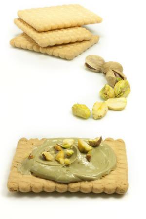 cake with pistachio cream and cookies
