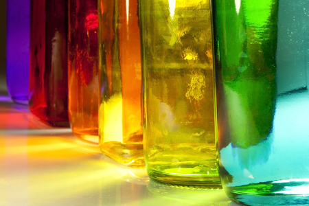 glass bottles of different colors