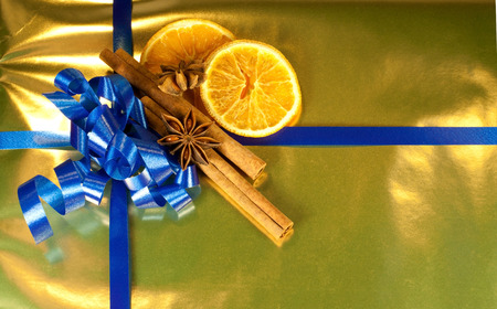 orange star anise and cinnamon as decorations