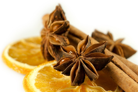 essences: orange star anise and cinnamon as decorations