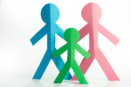 father in law: representation of the family with colorful paper figures Stock Photo