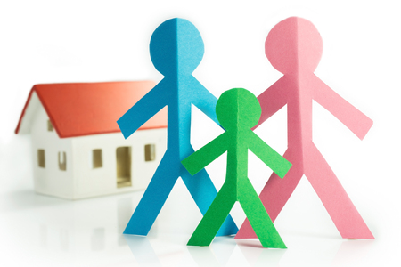 representation of the family with colorful paper figures Stock Photo