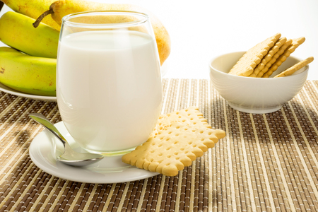 allergic ingredients: glass of white milk with biscuits