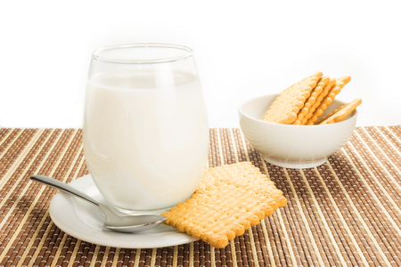 glass of white milk with biscuits