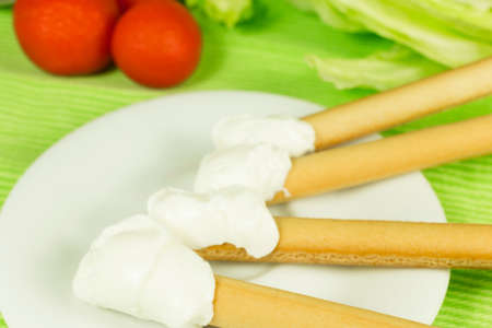 dietetic: dietetic food breadsticks and cream cheese Stock Photo