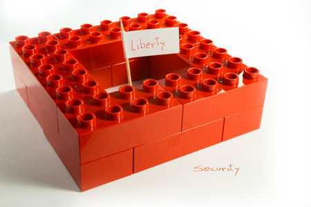 abstract representation of the conflict between Liberty and Security Stock Photo