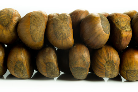 chestnuts steamed and smoked and tied together Stock Photo