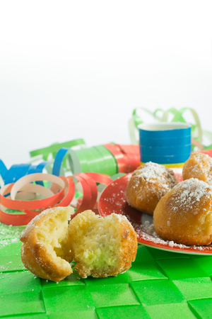 homemade pancakes in the shape of ball carnival features Stock Photo