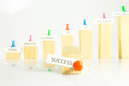 steps with signs to climb the ladder of success