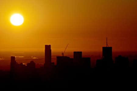 Golden dawn light over the sleepy city Stock Photo - 5372318