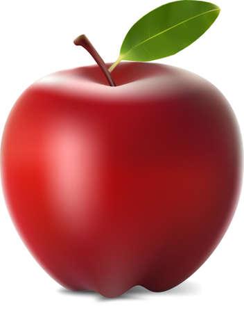 Realistische rode appel fruit illustratie Stock Illustratie
