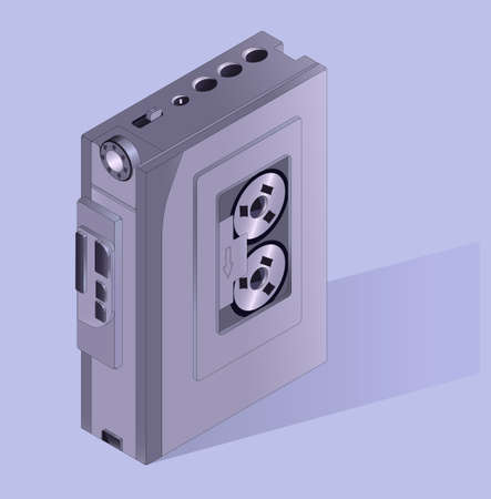 Retro cassette player from the 80s. Modern vector illustration.