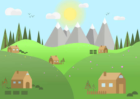 Beautiful summer, great design for any purposes. Mountain village. Vektorové ilustrace