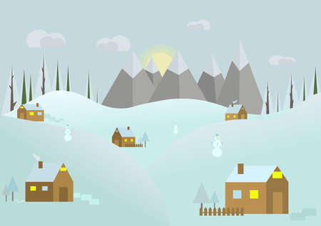 Snowy landscape panorama.Flat winter. Winter vector background.