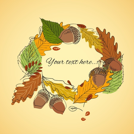 Autumn bakground with acorns and leaves Vector