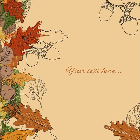 Autumn background with leaves and acorns Vector