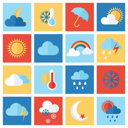 sunny cold days: Set of weather icons
