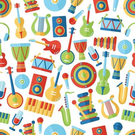 musical instrument symbol: Seamless musical pattern