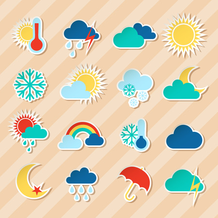 sunny cold days: Weather stickers set