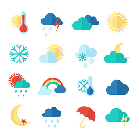 hot and cold: Set of weather icons