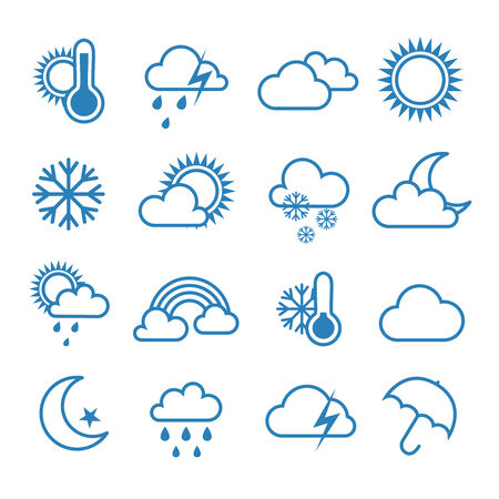 Set of outline weather icons Ilustrace
