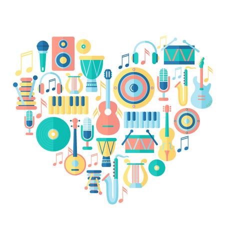 simbolos musicales: Coraz�n de la silueta con los instrumentos musicales Vectores