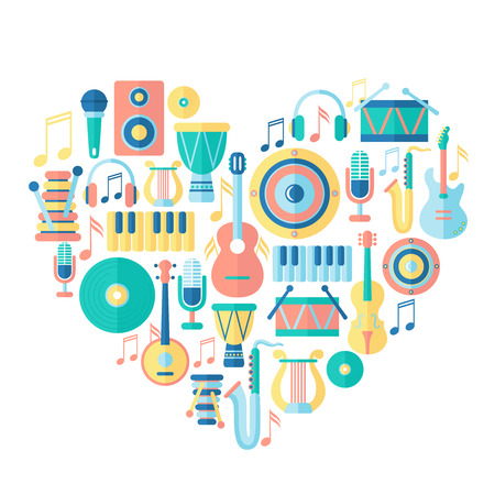 musical instruments: Silhouette heart with musical instruments