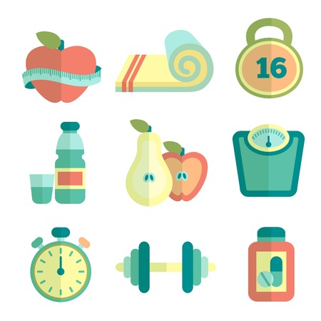 healthy eating: Set of fitness flat icons Illustration
