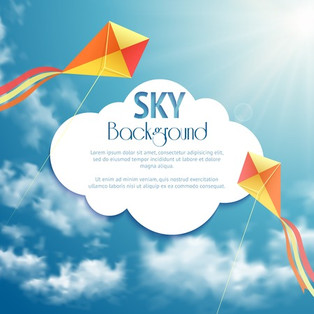 kite: Sky background with two kites. Vector illustration