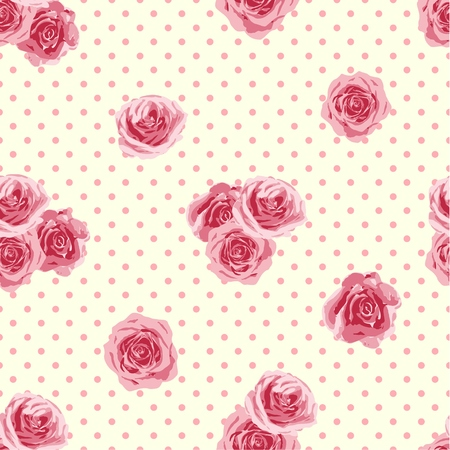 Flower seamless pattern with roses. Vector illustration