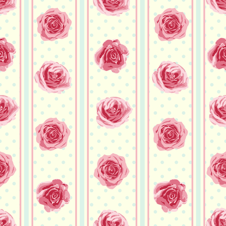 english rose: Flower seamless pattern with roses. Vector illustration