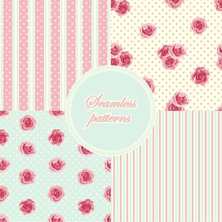 shabby chic background: Set of vintage seamless patterns. Vector illustration Illustration
