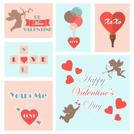 romantically: Set of various valentines cards. Vector illustration