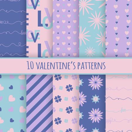 compendium: Set of 10 valentines cute patterns. Vector seamless backgrounds for your design