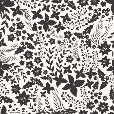monocrome: Monocrome seamless pattern with flowers. Vector bsckground for your design Illustration