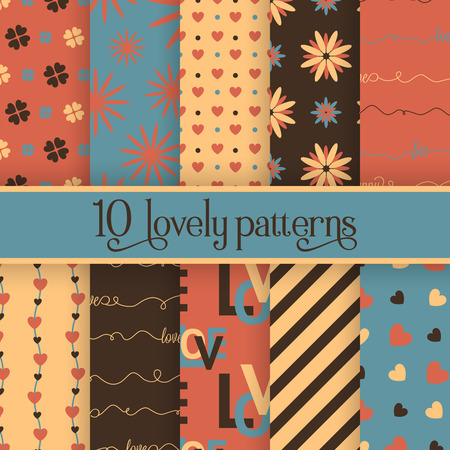 Set of 10 valentines cute patterns. Vector seamless backgrounds for your design