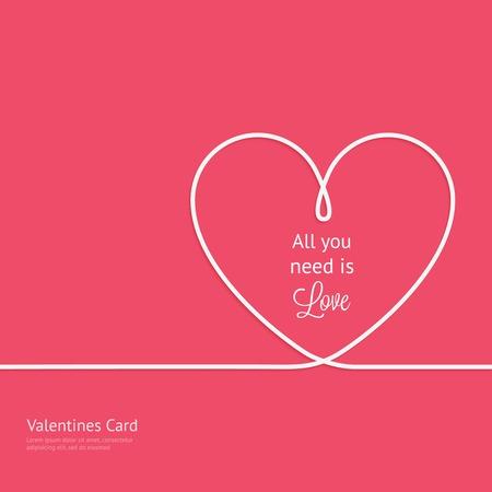 Valentines kaart met lijn hart en alles wat je nodig hebt is liefde zin