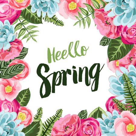 Kaart van de lente met geschilderde bloemen