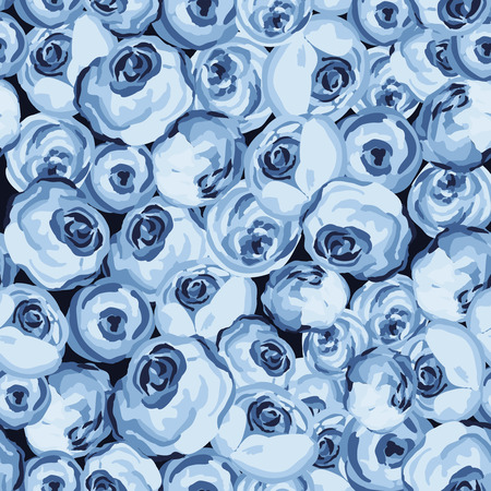 blue roses: Painted flower seamless pattern with blue roses Illustration