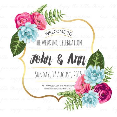 Bruiloft uitnodiging kaart met geschilderde bloemen Stock Illustratie