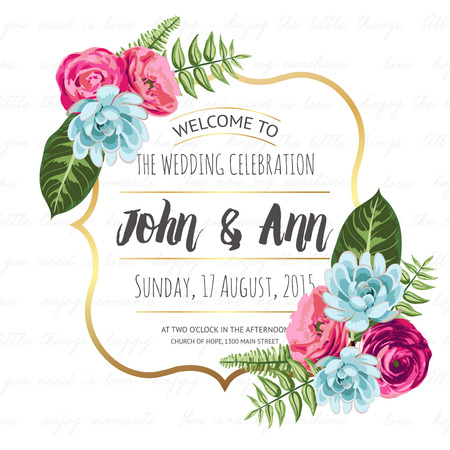 date: Wedding invitation card with painted flowers Illustration