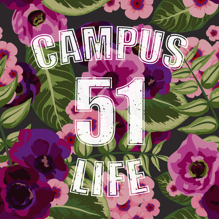 campus: Flower tropical seamless pattern with campus life