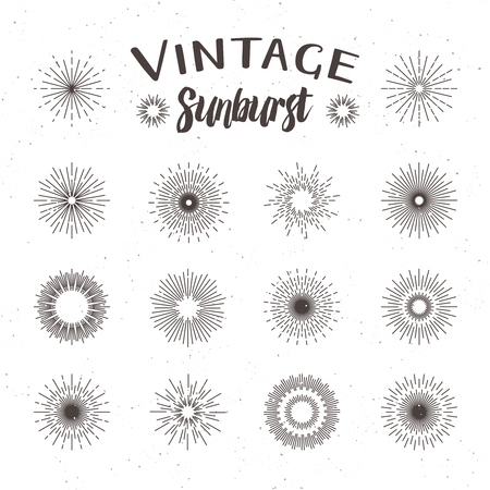 Vintage Sunburst. Hipster stijl Stock Illustratie