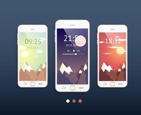 Vector mobiele telefoons met drie verschillende achtergronden: 's morgens,' s avonds en 's nachts. Telefoon mockup