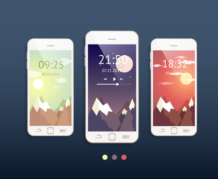 Vector mobile phones with three different backgrounds: morning, evening and night. Phone mockup Vettoriali